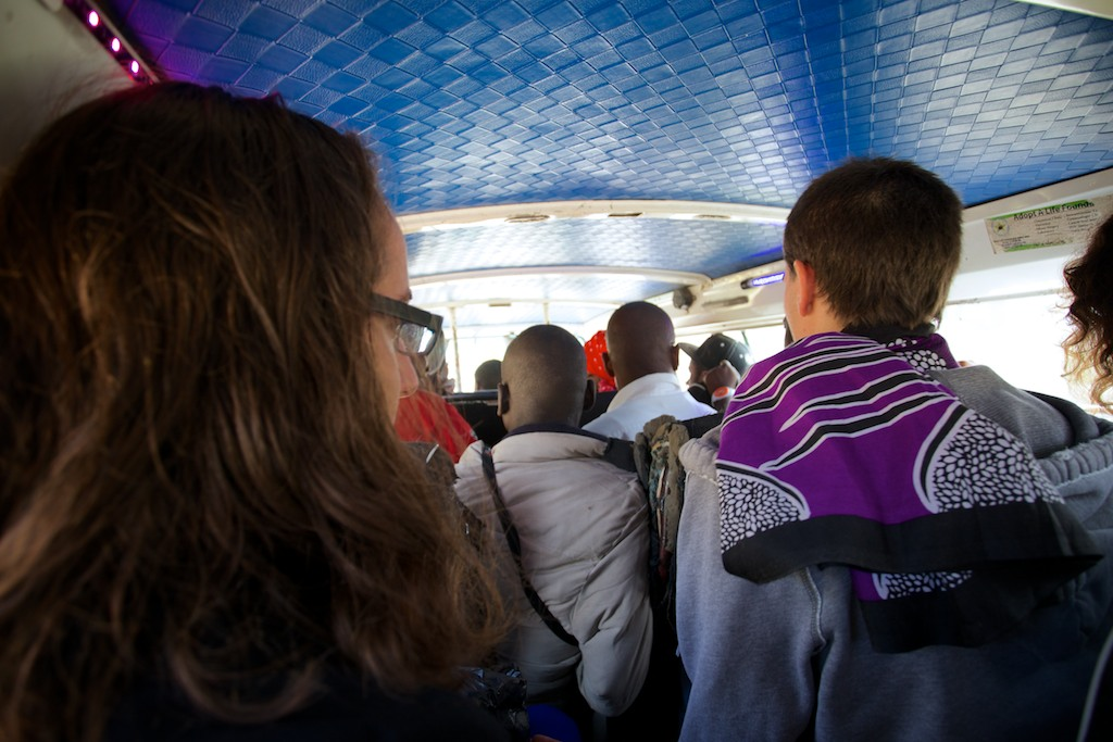 inside a matatu - better keep your things tight